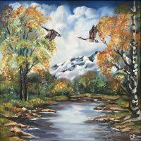 Есенен пейзаж с лебеди